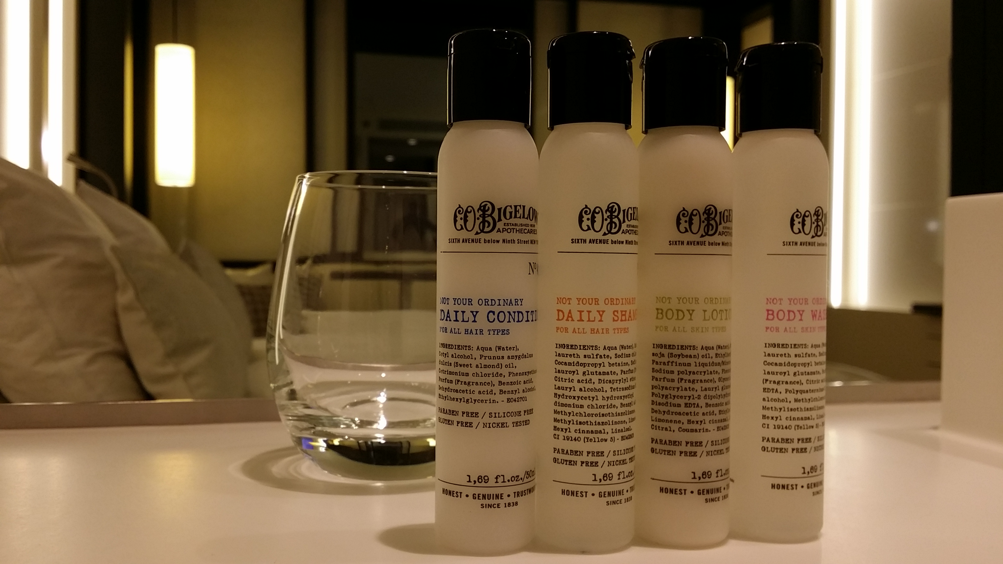 The Hotel offers bath products from C.O. Bigelow, the oldest apothecary in America founded in 1838 in New York