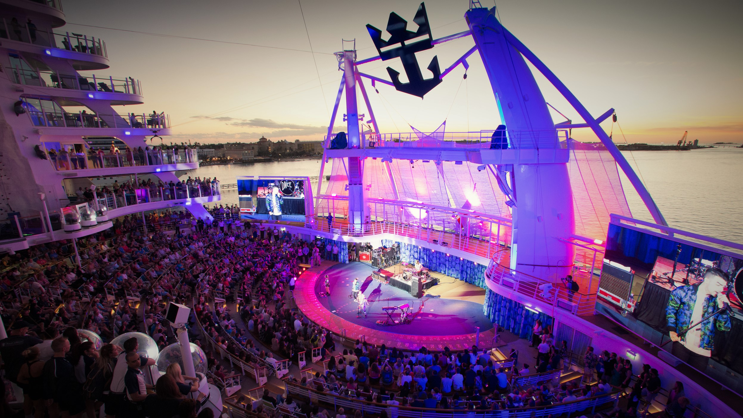 Harmony of the Seas US inaugurals. Multi-platinum selling band DNCE perform on board the world's largest cruise ship, Royal Caribbean's new Harmony of the Seas.
