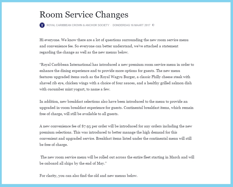 Room Service: A Royal Fee For Room Service
