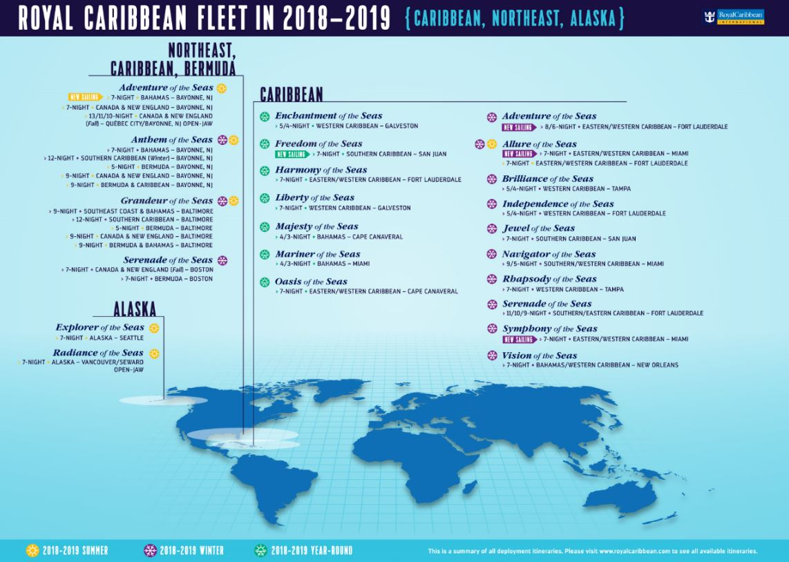 Royal Caribbean Has Updated Its Previously Announced 2018